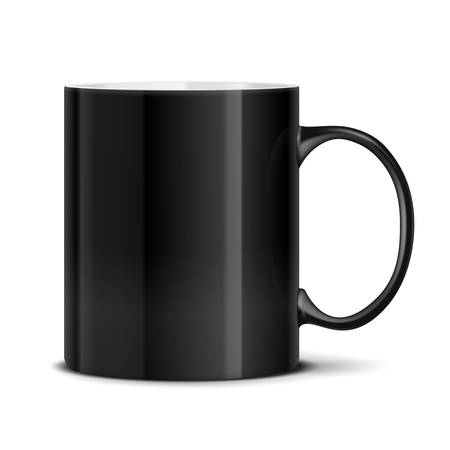 Black mug cup isolated on white background Stock Vector - 17751018