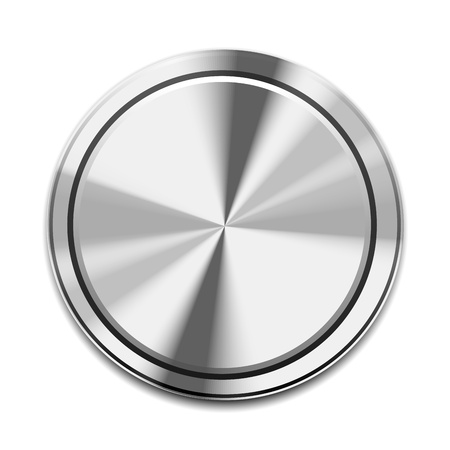 stainless steel: Realistic Metal Button Icon isolated on white Illustration