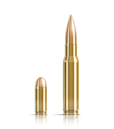 automatic pistol: Vector Ammunition bullets on white background Illustration