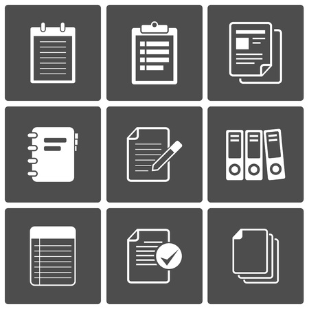 contract documents: Vector Notepad paper Documents Icons set