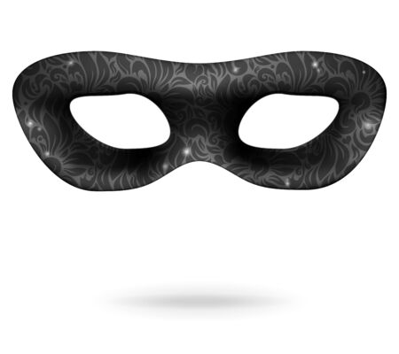 masquerade mask: Black Ornate Carnival Mask isolated on white  Vector Illustration