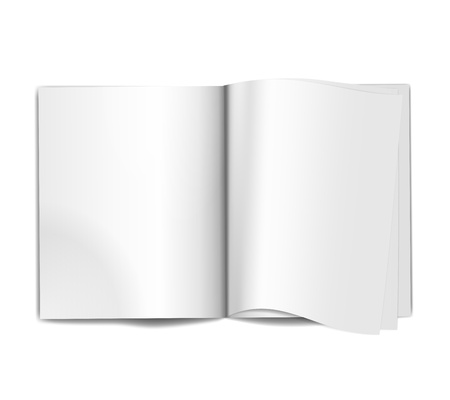 open magazine: Vector Open Magazine blank pages background over white