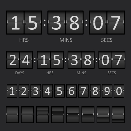countdown clock: Vector Countdown Timer and Scoreboard Numbers