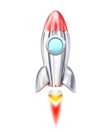 Illustration of Rocket Ship icon isolated on white Stock Vector - 17905529