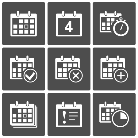event planning: Vector Calendar Icons  event add delete progress