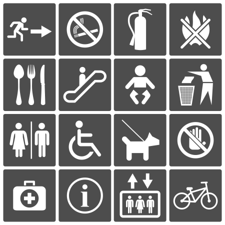 fire extinguisher sign: Vector International Service Signs icon set  exit wc cafe, information stop