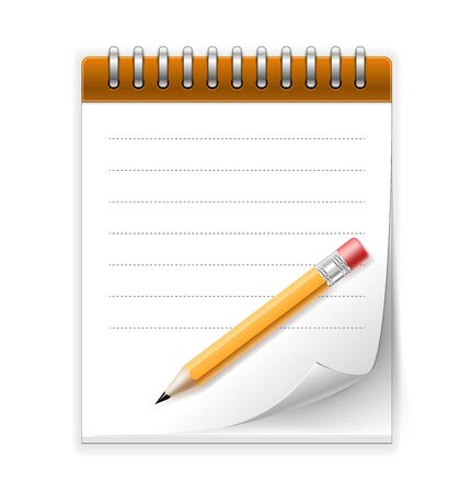 Vector Notepad paper with pencil icon isolated on white Stock Vector - 17905523