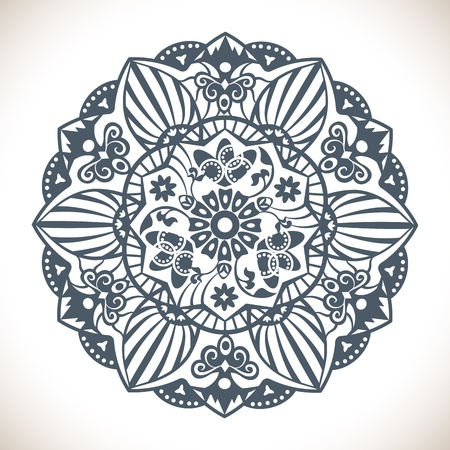 Vector Monochrome Mandala Round Ornament Pattern isolated on white Stock Vector - 17905521