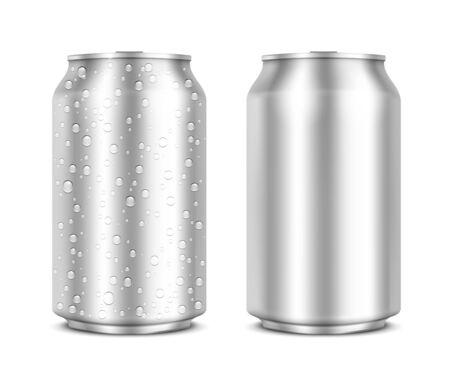 ml: Aluminum Cans isolated on white clean and with drops  Vector Illustration
