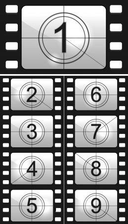 Film countdown numbers  Vector Illustration Illustration