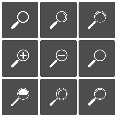 scrutiny: Vector Magnifier Glass and Zoom Icons  search find lupe