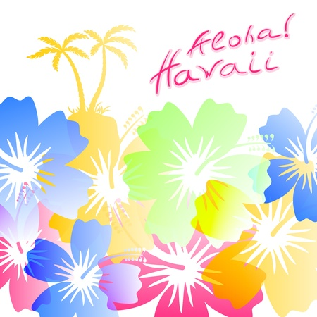 Aloha Hawaii Background with palm trees silhouettes and hibiscus flowers Stock Vector - 18239890