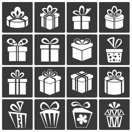 Gift Box Icons, Holiday Presents Stock Vector - 18239879