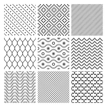 Geometric Seamless Patterns Set  Monochrome Textures on white
