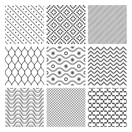 diagonal lines:  Geometric Seamless Patterns Set  Monochrome Textures on white