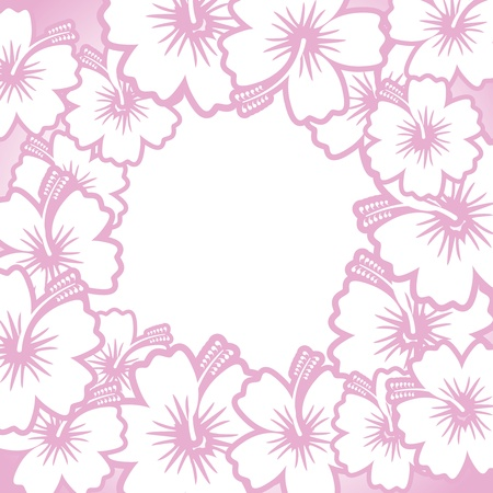 Decorative pink floral frame for design on white Stock Vector - 18239880
