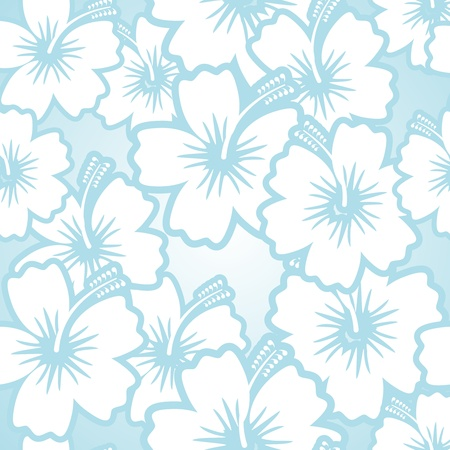 Hibiscus floral seamless pattern background  White flowers on blue Stock Vector - 18239882