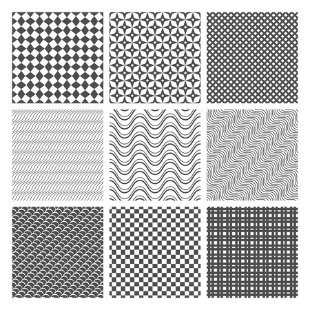 Monochrome Geometric Seamless patterns set  Simple backgrounds Vector