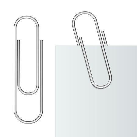 attach: Metal clip de papel y papel aislado en fondo blanco Ilustración
