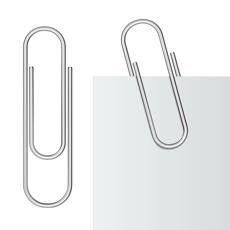 attach: Metal paper clip and paper isolated on white background   Illustration