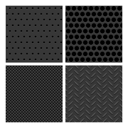 Metal Texture seamless Background Patterns Set Stock Vector - 18239902