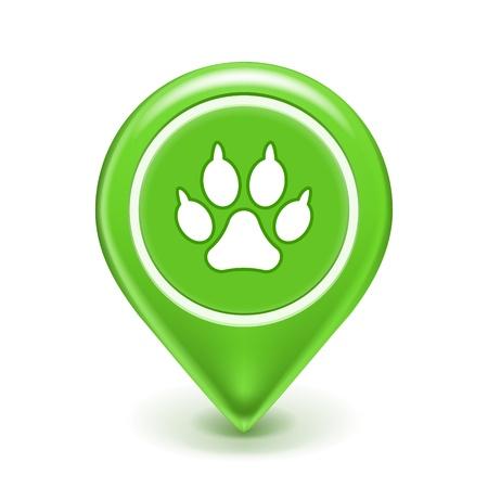 Icono mascotas Ubicación, signo impresión de la pata aislado en blanco Ilustración de vector