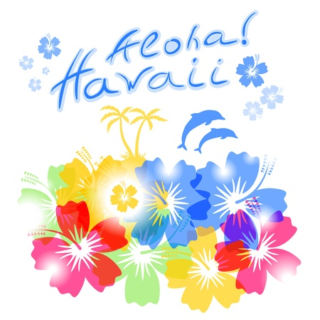 hawaii beach: Aloha Hawaii Background with palm trees silhouettes and hibiscus flowers Illustration