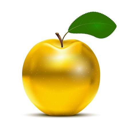 Vector Golden Apple mit grünen Blatt isoliert auf weißem Hintergrund