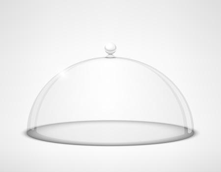Vector Glass transparent half-sphere lid with handle on white background