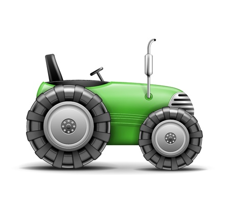 Green Agricultural Tractor isolated on white  Vector Illustration Stock Vector - 18383408