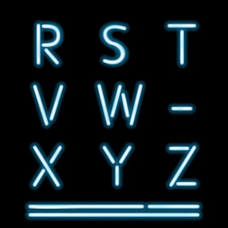 neon alphabet: Vector Neon Tube Alphabet Letters, part 3 Illustration
