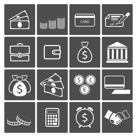 Iconos vectoriales Dinero Billetes Monedas cheque de pago tarjeta bancaria