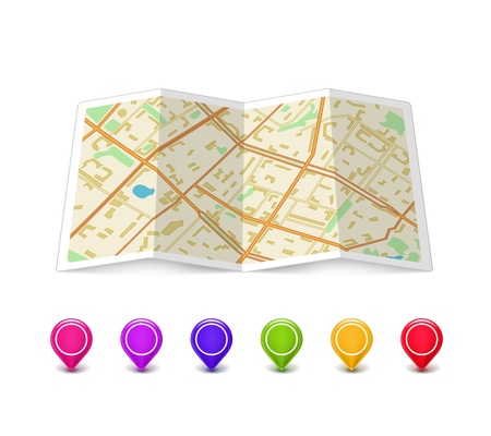 Empty Map icon with multicolored Pin Pointers isolated on white  Vector Illustration Stock Vector - 18383405