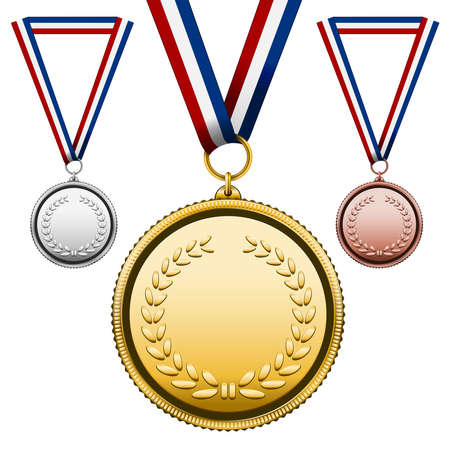 gold medal: Three Medals Gold Silver bronze with blank face isolated on white  Vector Illustration