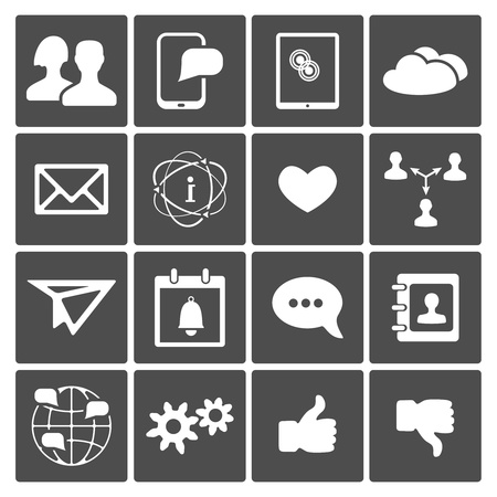Vector Social Icons Set  mail speech bubble user like contact Stock Vector - 18383388