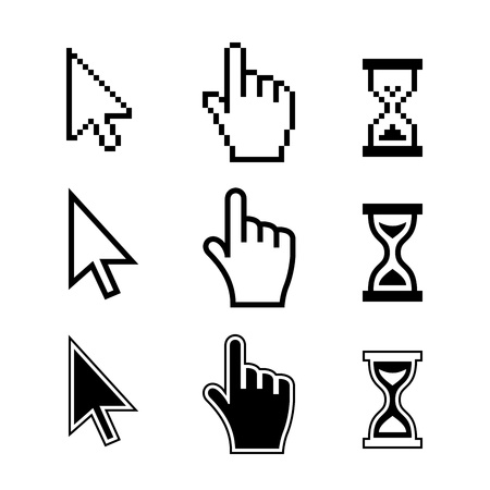 Pixel cursors icons mouse hand arrow hourglass Vector Illustration