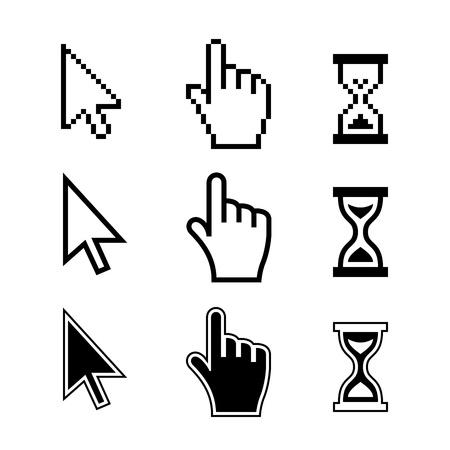 myszy: Pixel kursory myszy ikony ręcznie strzałka klepsydra Ilustracja Wektor Ilustracja