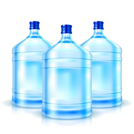 Three big bottles with clean water isolated on white  Vector Illustration Stock Vector - 18383420