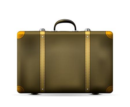 Vintage maleta del viaje viejo aislado en blanco Ilustración vectorial
