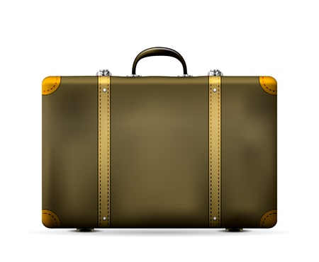 old suitcase: Vintage Old Travel Suitcase isolated on white  Vector Illustration