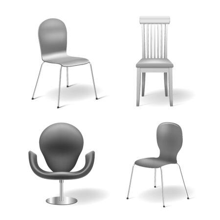 Stel Vector Stoelen geïsoleerd op witte achtergrond stoel fauteuil