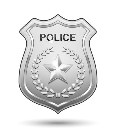 icono policia: Insignia Vector Polic�a aislado sobre fondo blanco