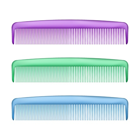 male grooming: Vector Colorful Combs isolated on white background Illustration