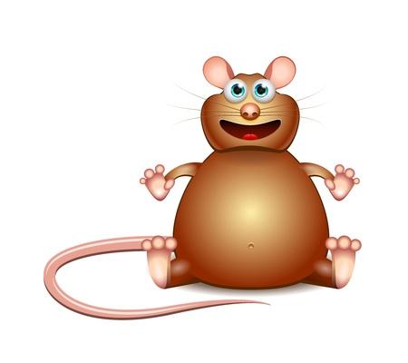 glutton: Vector Cartoon brown glutton mouse isolated on white background