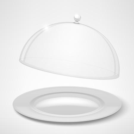 bandeja de comida: Bandeja de Alimentaci�n, cloche restaurante aislado en blanco Ilustraci�n vectorial Vectores