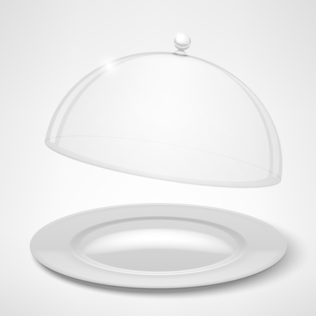Food tray, restaurant cloche isolated on white  Vector Illustration Stock Vector - 18543536