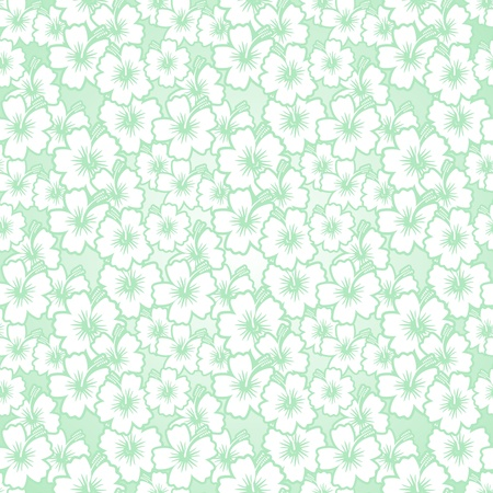 Floral Green Seamless Pattern Background Hibiscus Flowers Vector