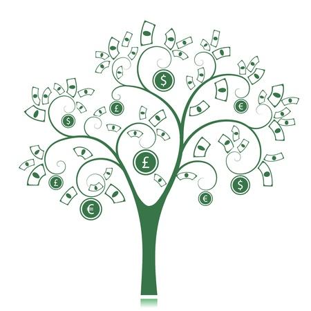 dinero euros: �rbol del dinero aislados en fondo blanco ilustraci�n vectorial