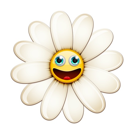 Cartoon Smiling flower, happy daisy isolated on white  Vector Illustration Stock Vector - 18543538