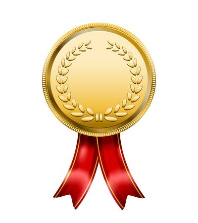 medal ribbon:  Award Medal Rosette Label isolated on white background Illustration
